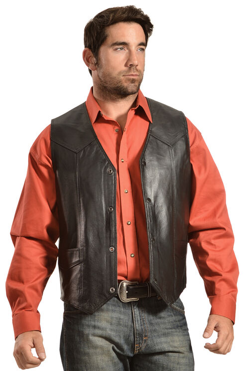 Liberty Wear Men's Leather Western Vest - Big, Black, hi-res