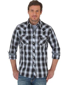 Wrangler Retro Men's Black/Grey Plaid Premium Long Sleeve Snap Shirt, Black, hi-res