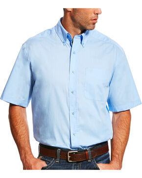 Ariat Men's Blue Solid Short Sleeve Poplin Shirt , Light Blue, hi-res