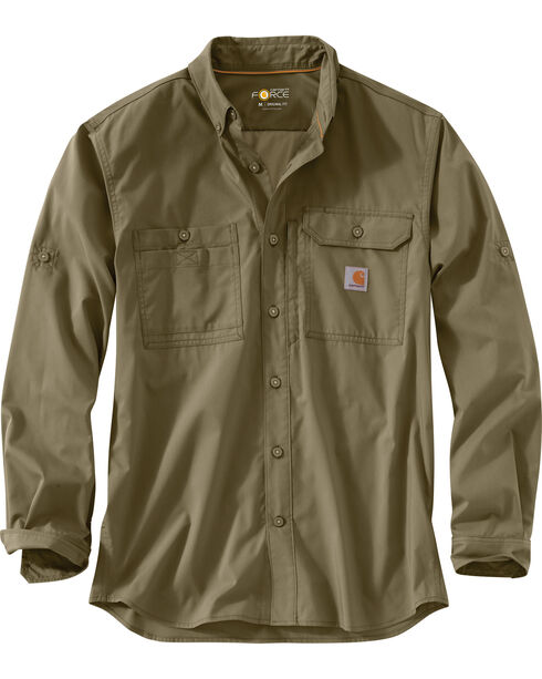 Carhartt Men's Force Ridgefield Solid Long Sleeve Shirt , Olive, hi-res