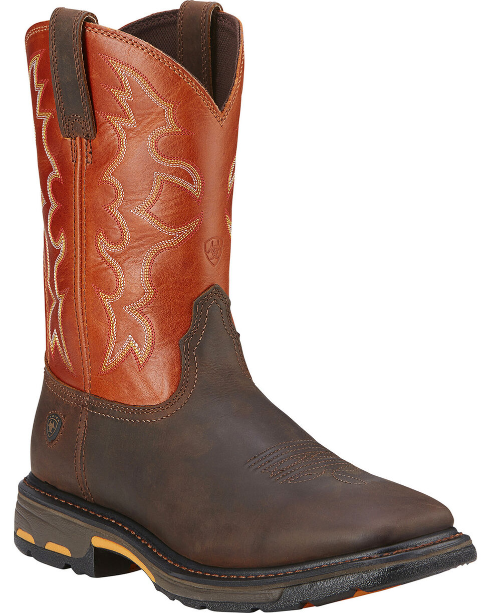 Ariat Workhog Western Work Boots - Steel Square Toe, Earth, hi-res