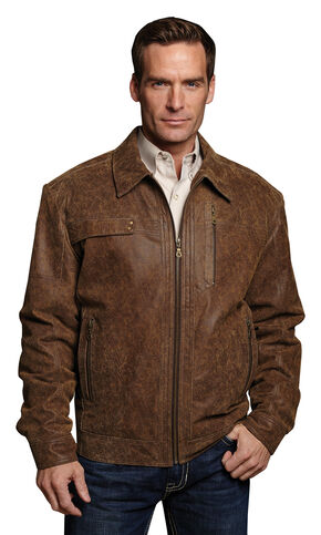 Cripple Creek Hand-sanded & Distressed Leather Jacket, Brown, hi-res