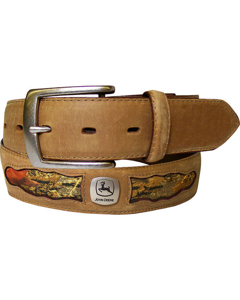 John Deere Men's Tan Horse Leather with Camo Cutouts Belt , Tan, hi-res