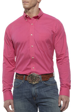 Ariat Performance Hot Pink Solid Poplin Shirt, Hot Pink, hi-res