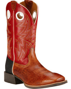 Ariat Cardinal Red Heritage Cowhorse Performance Cowboy Boots - Square Toe , Tan, hi-res