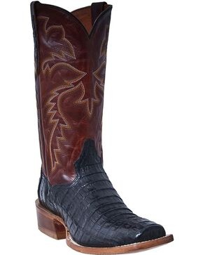 Dan Post Station Camp Waxy Belly Caiman Cowboy Boots - Square Toe, Black, hi-res