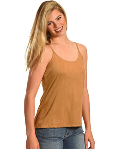 Shyanne Women's Faux Suede Basic Camisole, No Color, hi-res
