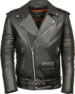 Milwaukee Leather Men's Classic Side Lace Police Style Motorcycle Jacket - Tall - 3XT, Black, hi-res