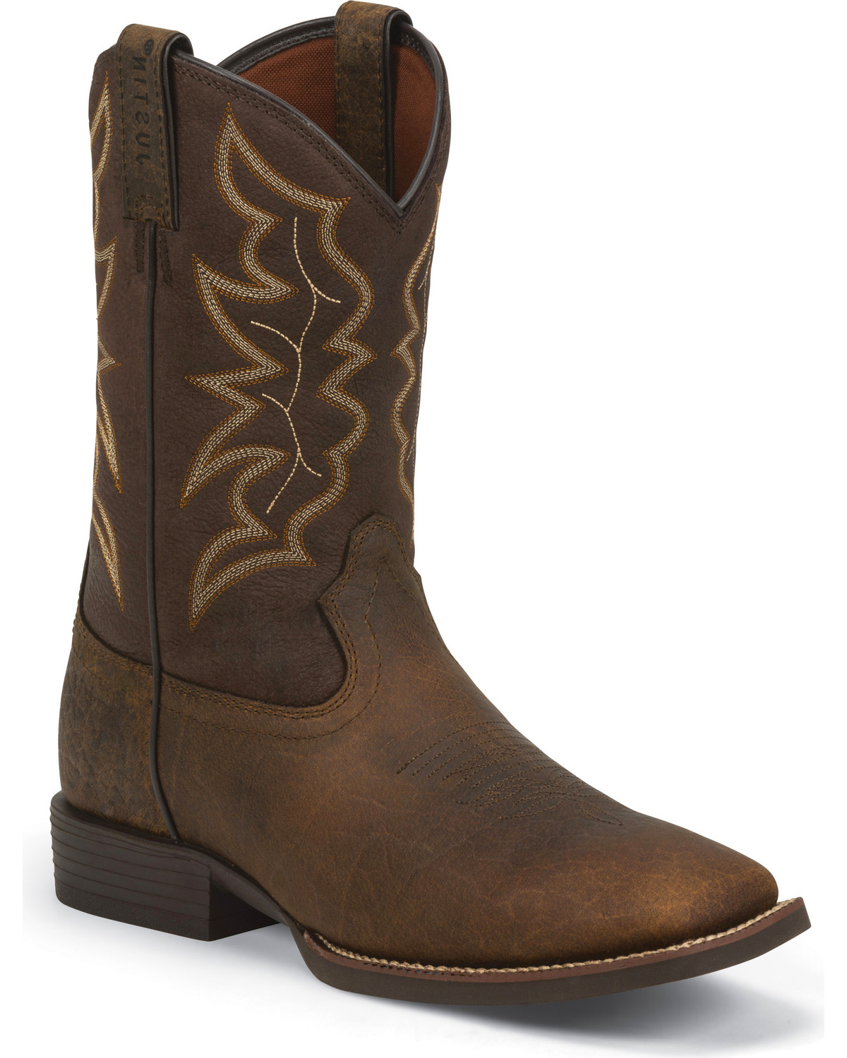 Justin Men S Brown Stampede Boots Square Toe Country