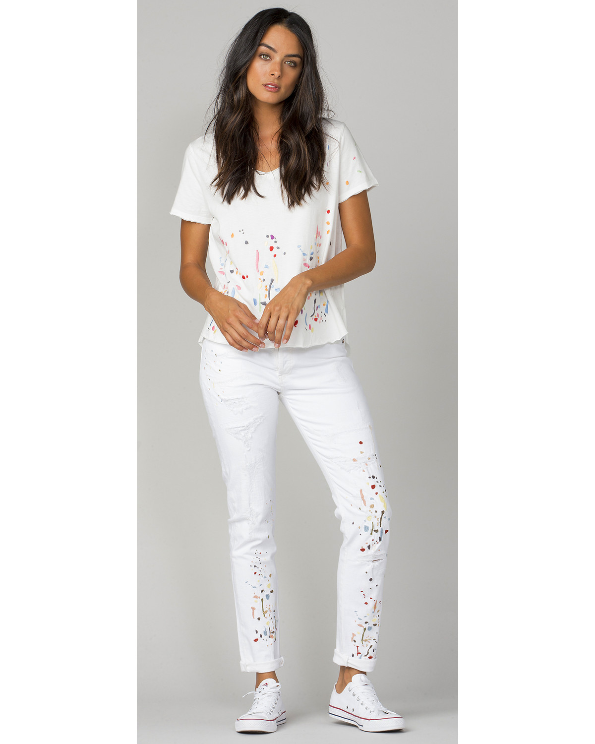MM Vintage Women's White Paint Splatter Embroidered Boyfriend ...