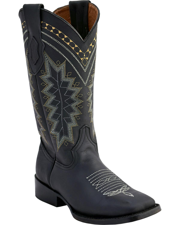 ferrini s black navajo western boots square toe