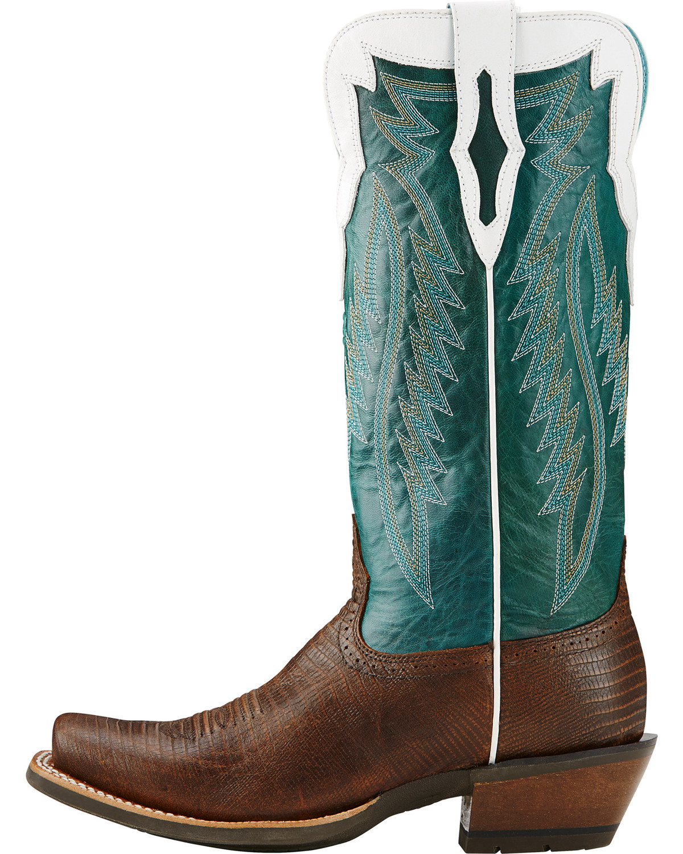 Ariat Chocolate Futurity Lizard Print Cowgirl Boots - Square Toe ...
