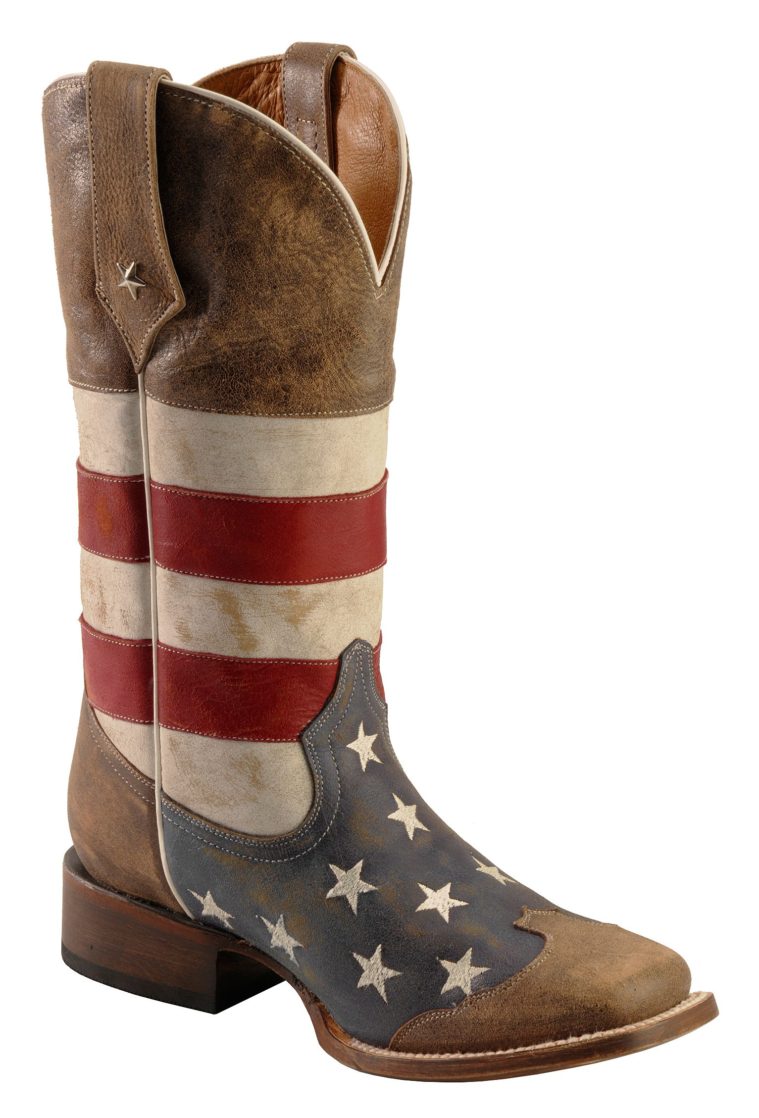 Roper American Flag Cowboy Boots Square Toe Country