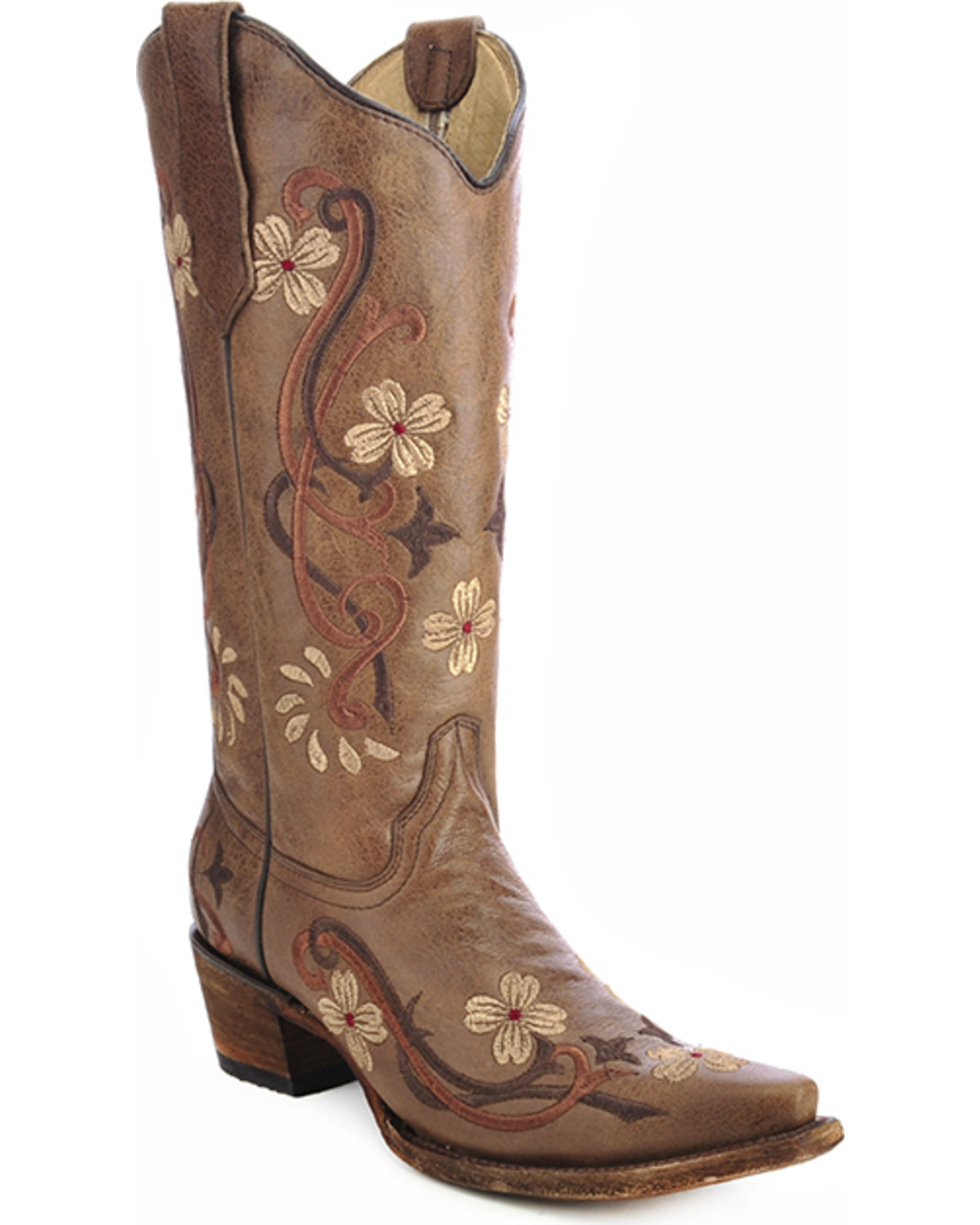 circle g floral embroidered boots snip toe