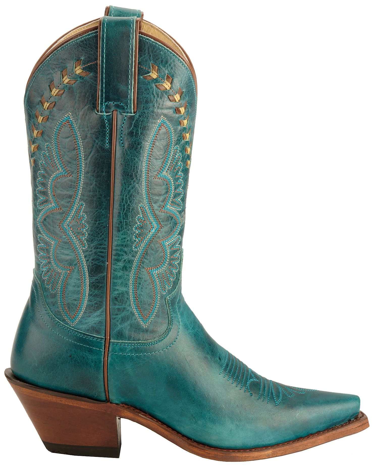 Justin Leather Laced Turquoise-Hue Torino Cowgirl Boots - Snip Toe ...