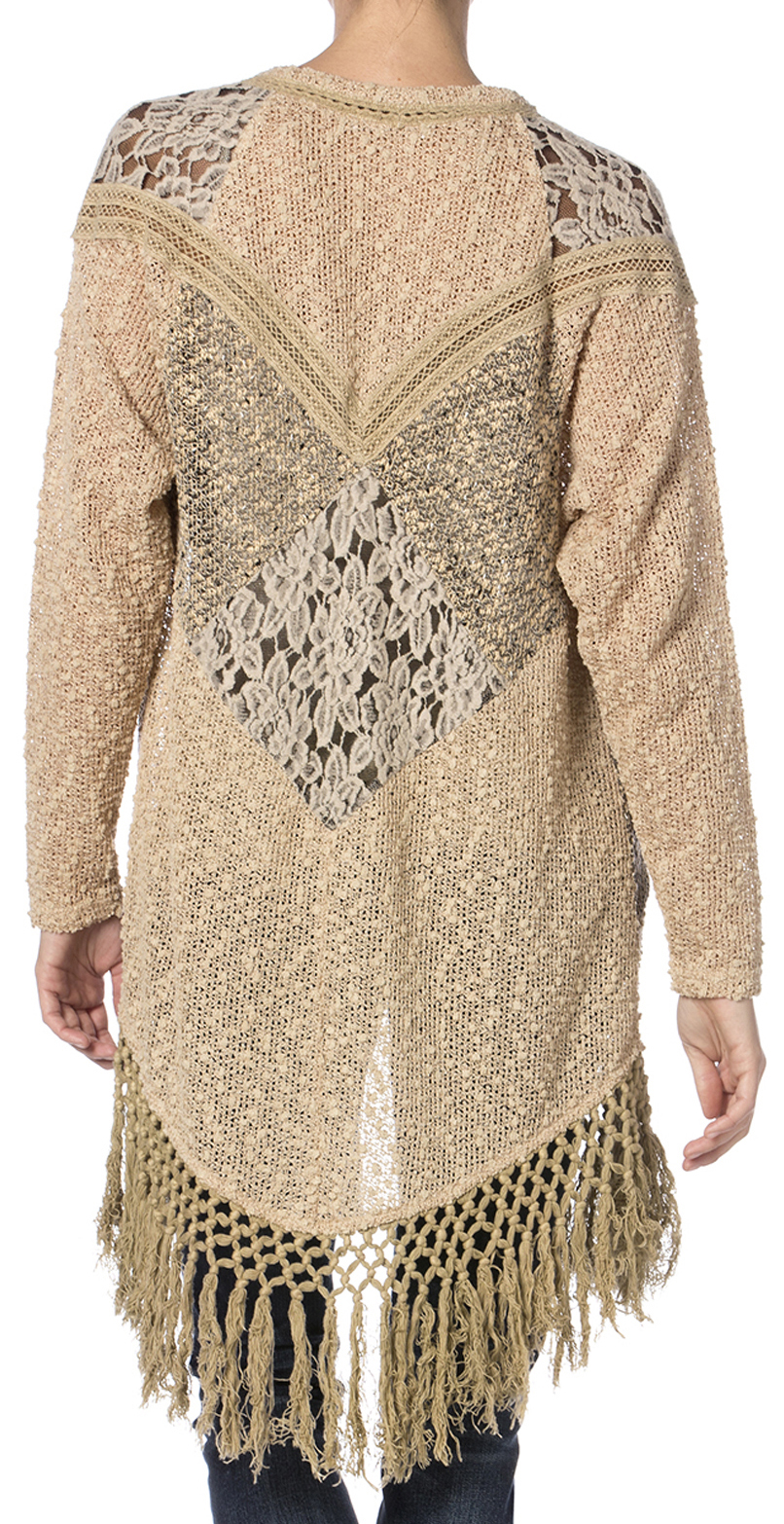 Miss Me Mix Match Lace Knit Cardigan Sweater - Country Outfitter