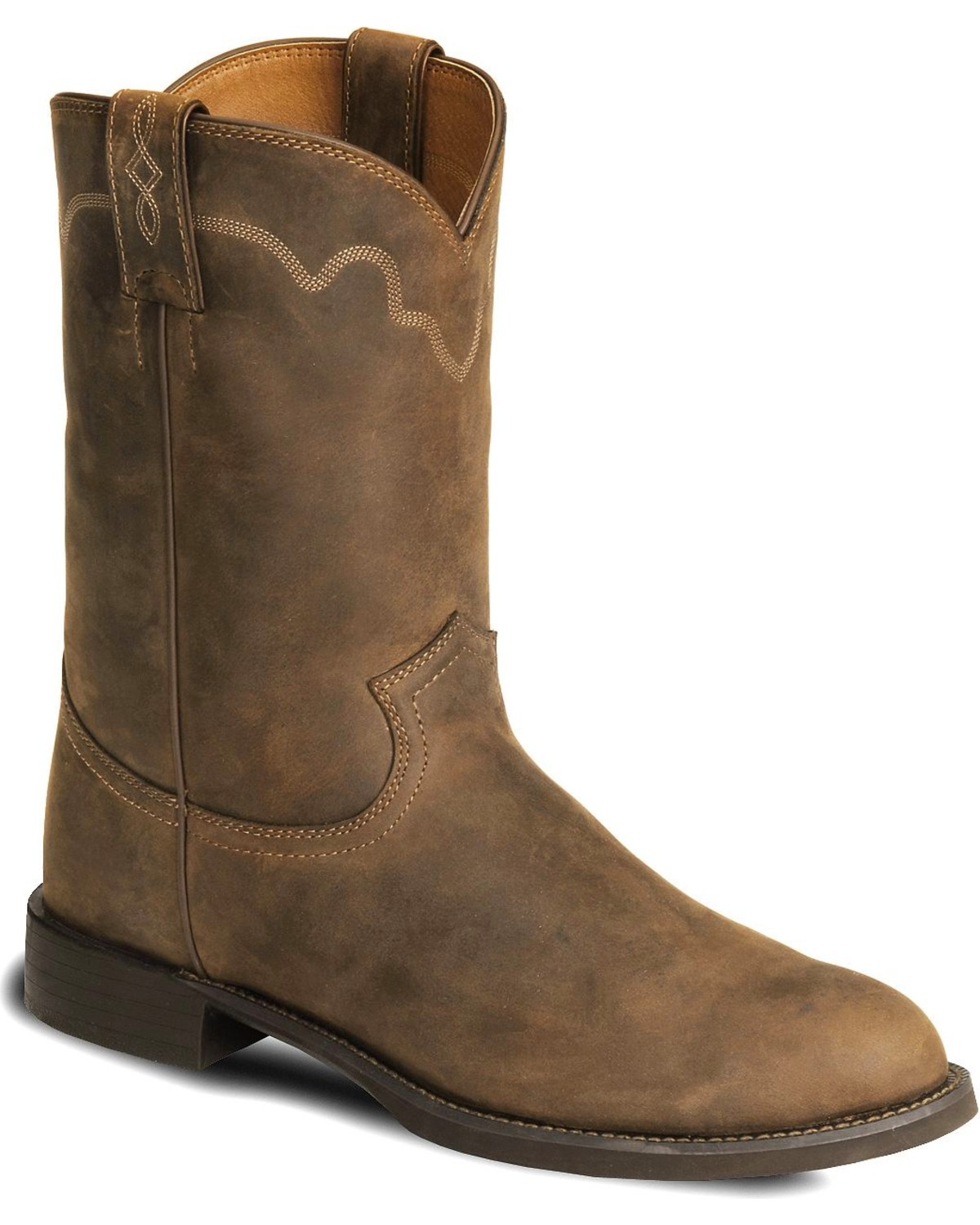 Justin Stampede Roper Cowboy Boots Round Toe Country
