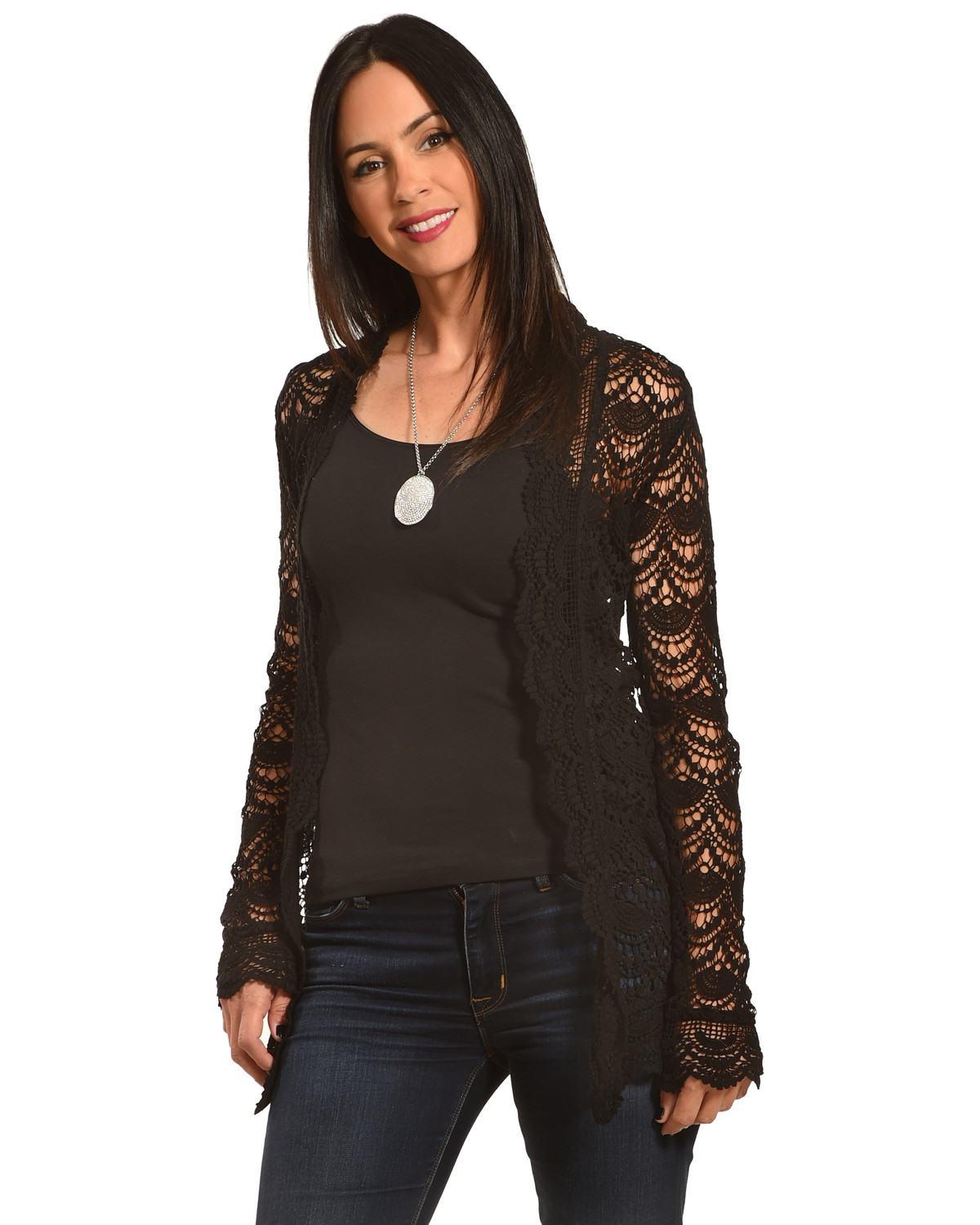 Young Essence Women's Long Sleeve Lace Cardigan - Country Outfitter
