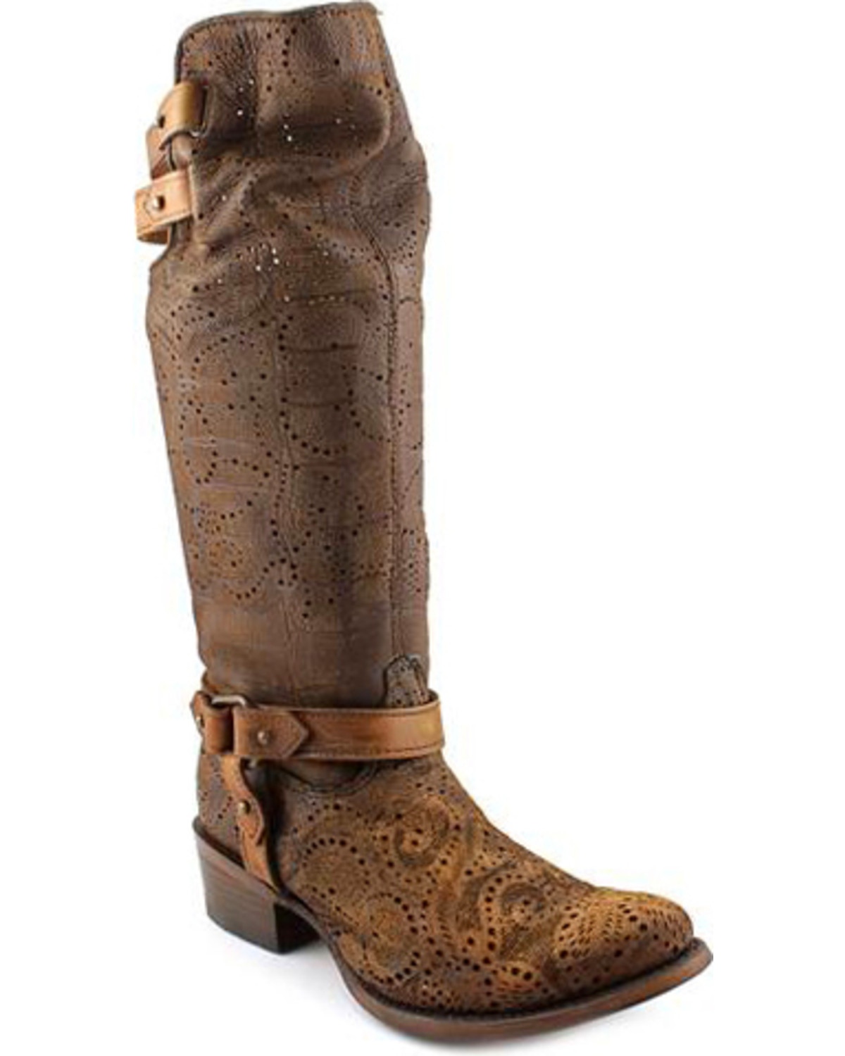 Corral Women's Chocolate Slouch Harness & Top Strap Cowgirl Boots ...