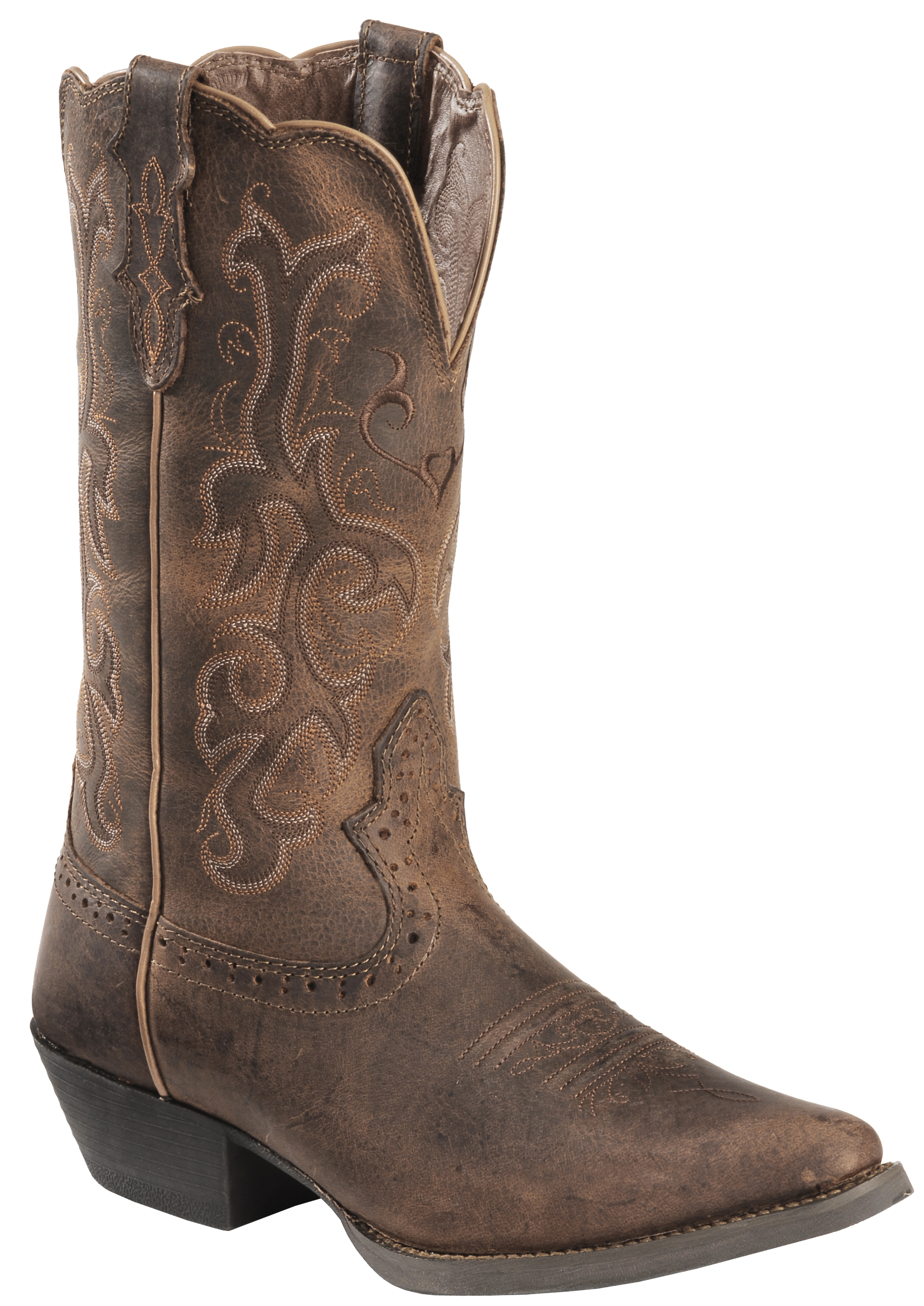Justin Distressed Puma Cowhide Stampede Cowgirl Boots - Snip Toe ...