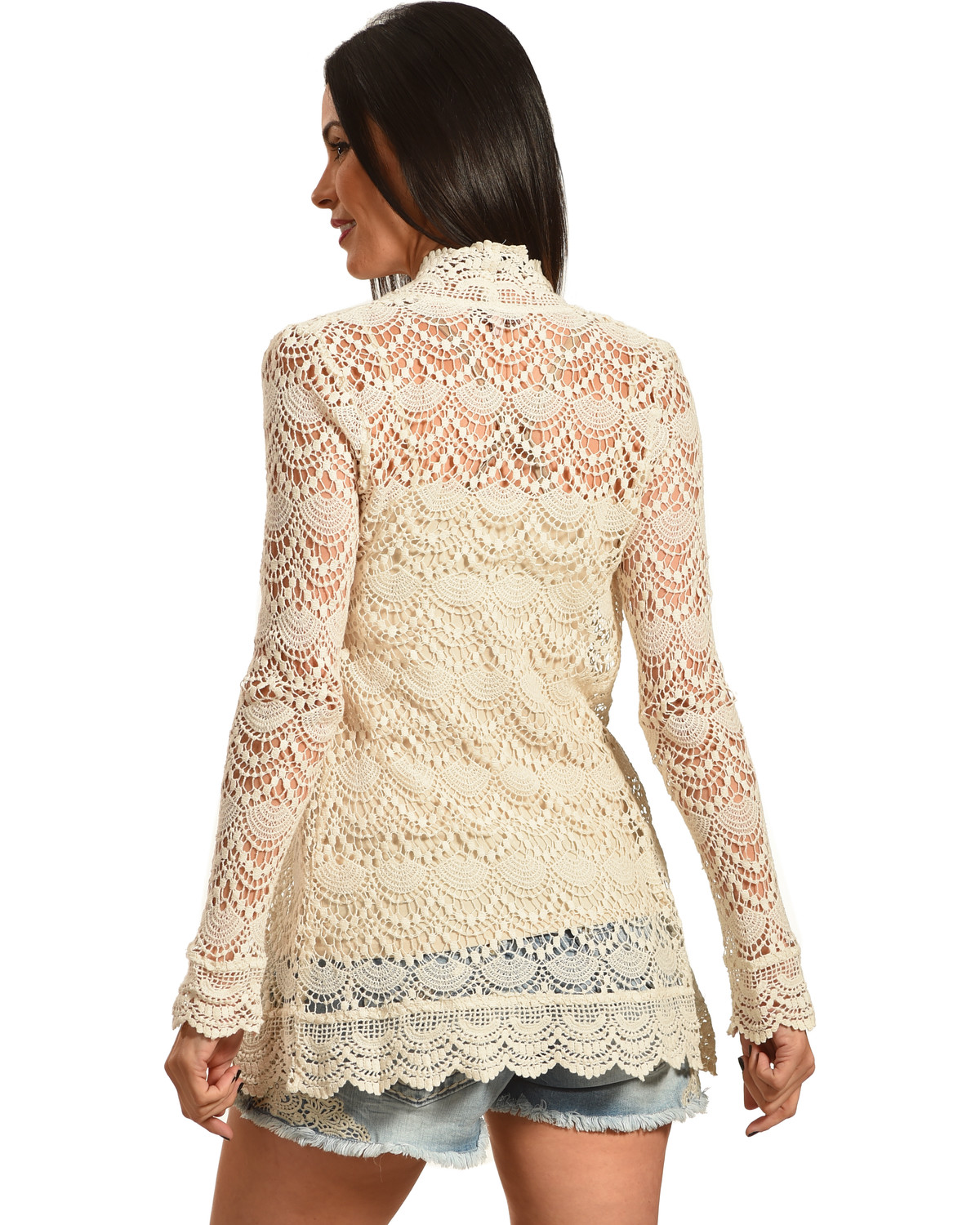 Young Essence Women's Beige Long Sleeve Lace Cardigan - Country ...