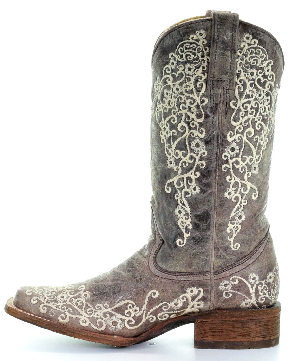 Corral Brown Crater Embroidered Cowgirl Boots Square Toe