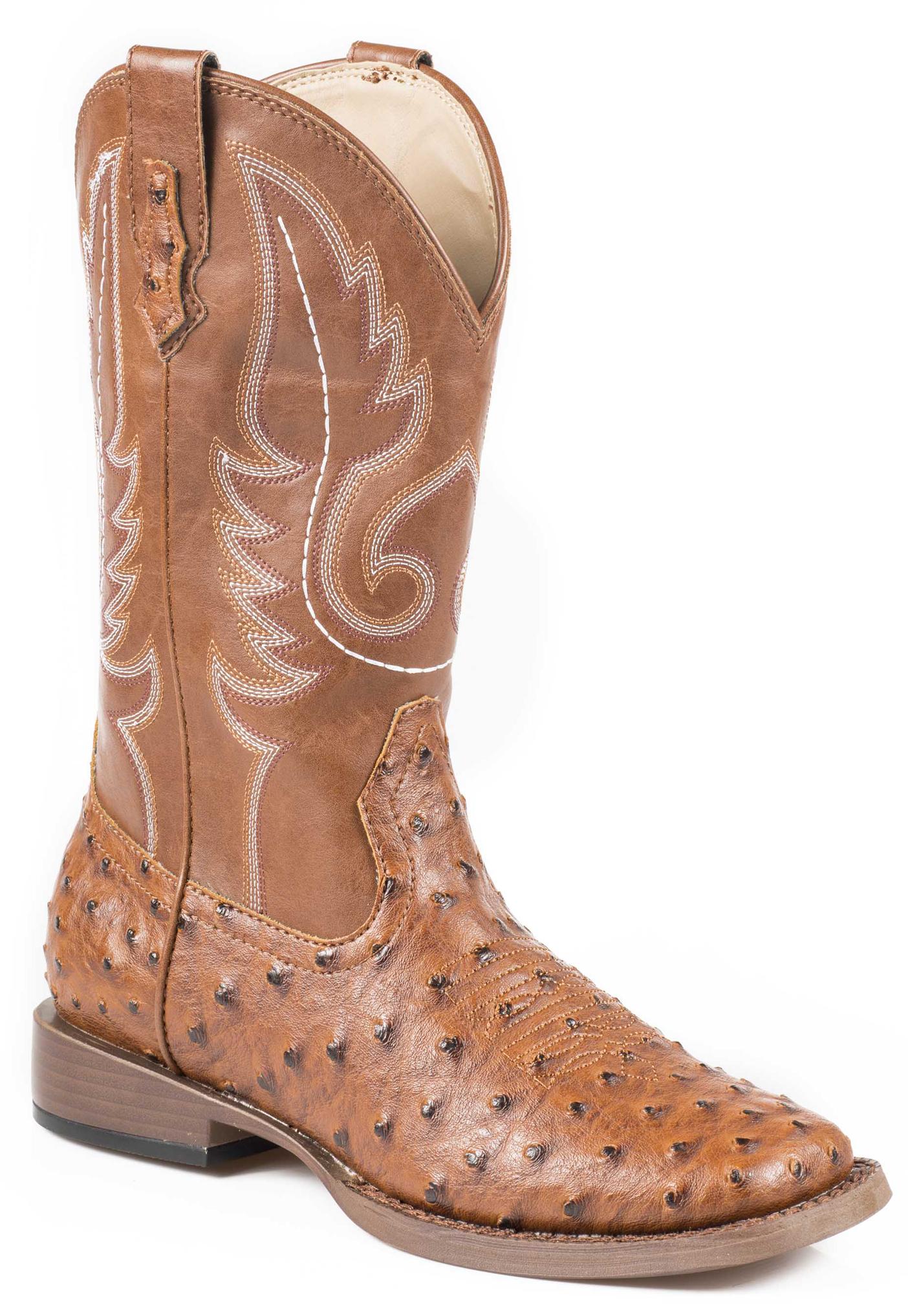 Roper Faux Ostrich Cowboy Boots - Square Toe, Tan, hi-res