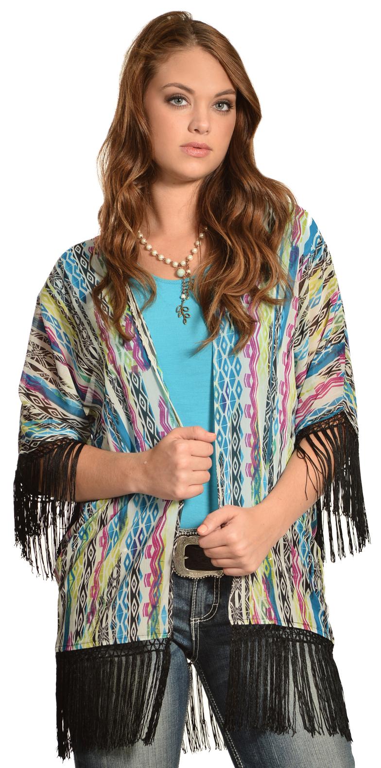 Wrangler Rock 47 Women's Multicolor Tribal Fringe Kimono Cardigan ...