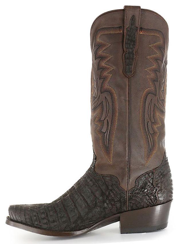 El Dorado Handmade Chocolate Caiman Belly Cowboy Boots