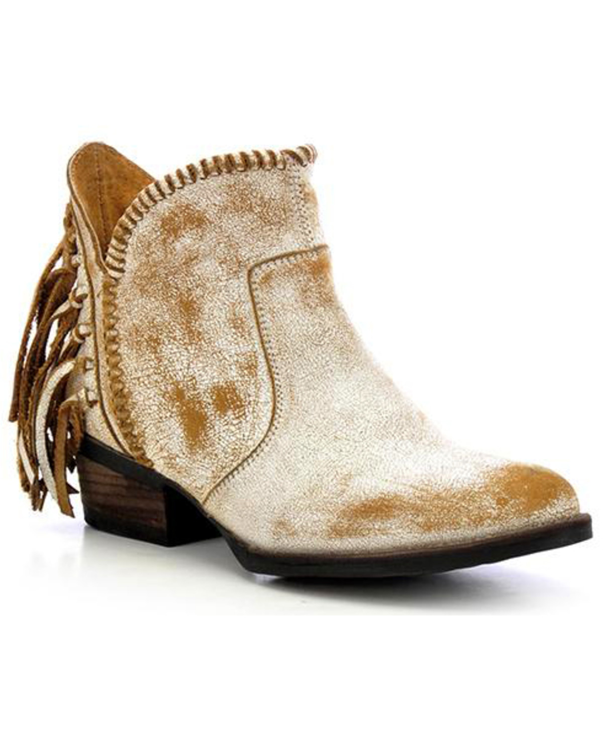 Circle G Women S Diamond Embroidered Cowgirl Boot Square: Circle G Fringe Short Boots