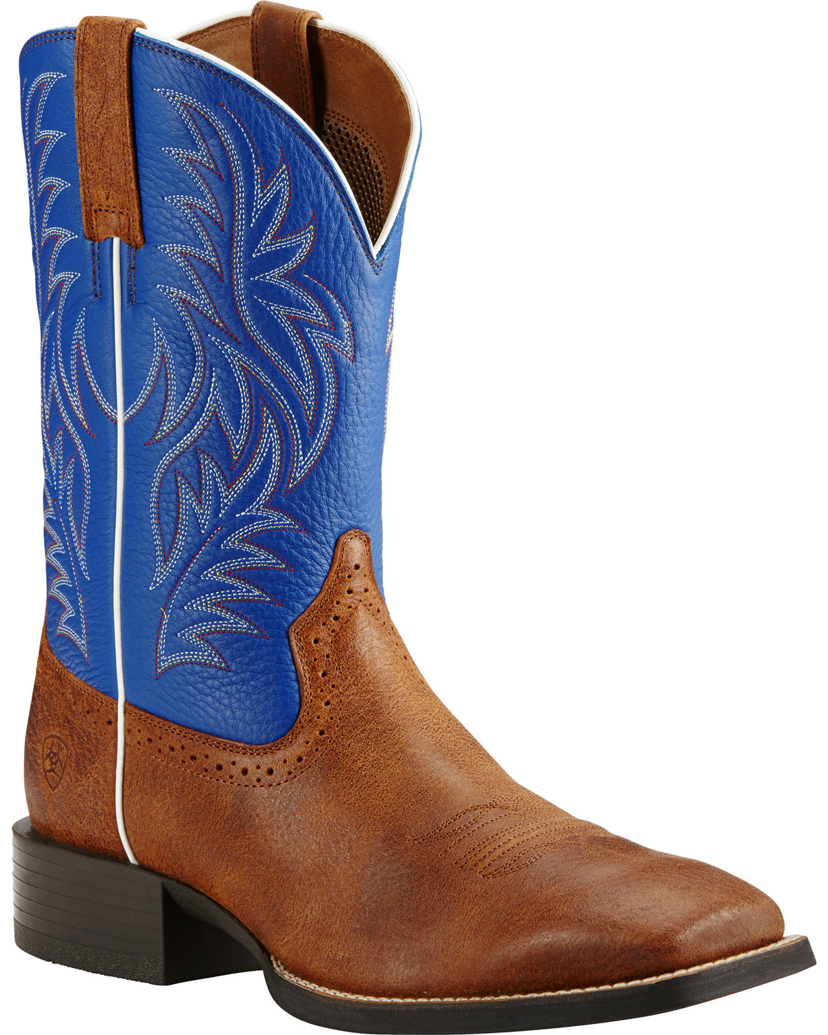 Ariat Sport Western Blue and Brown Cowboy Boots - Square Toe ...