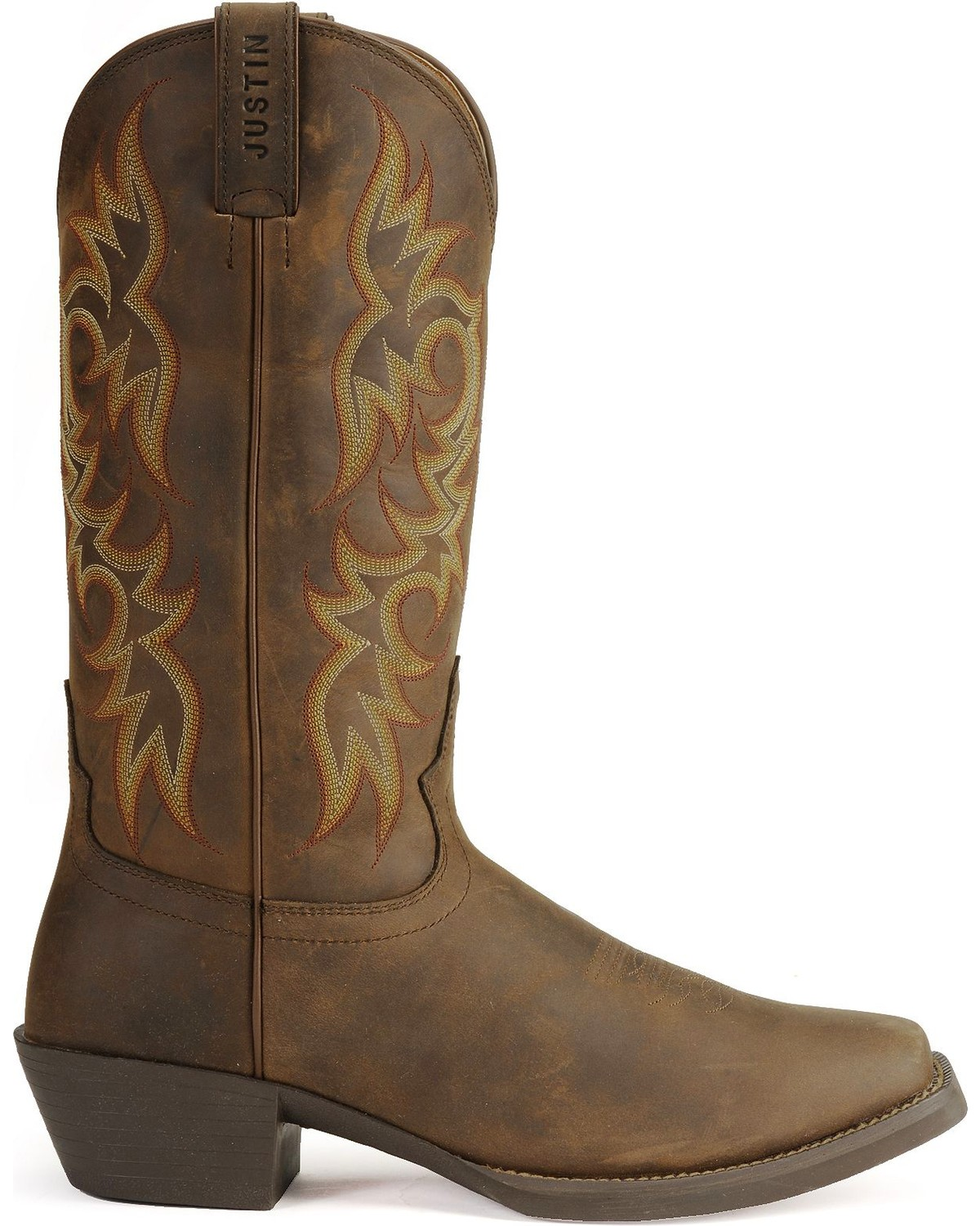 Justin Stampede Western Apache Cowboy Boots Square Toe