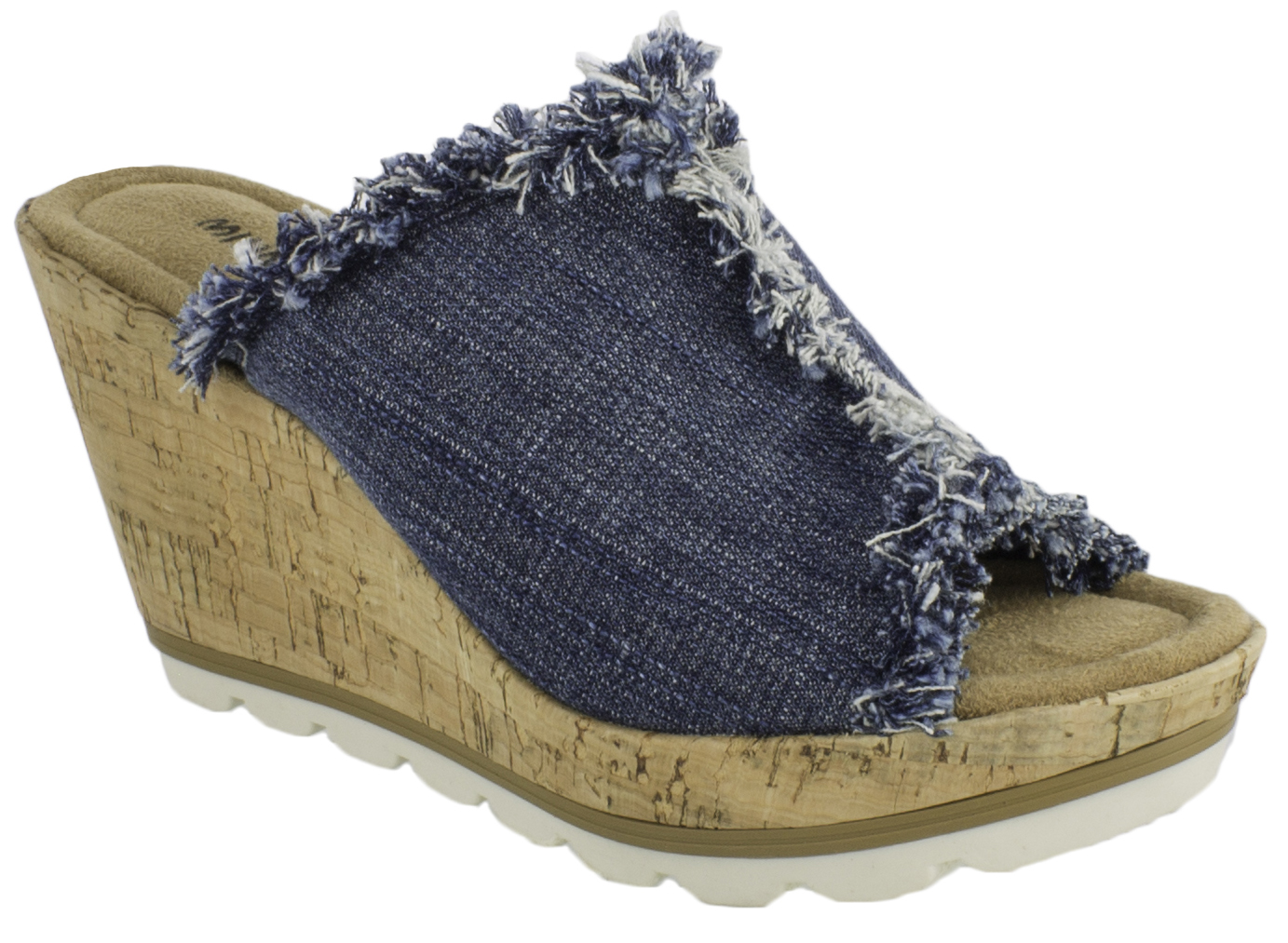 Minnetonka suede leather knee high tall lace up moccasin fringe boots - Minnetonka Womens York Wedge Sandals Blue Hi Res