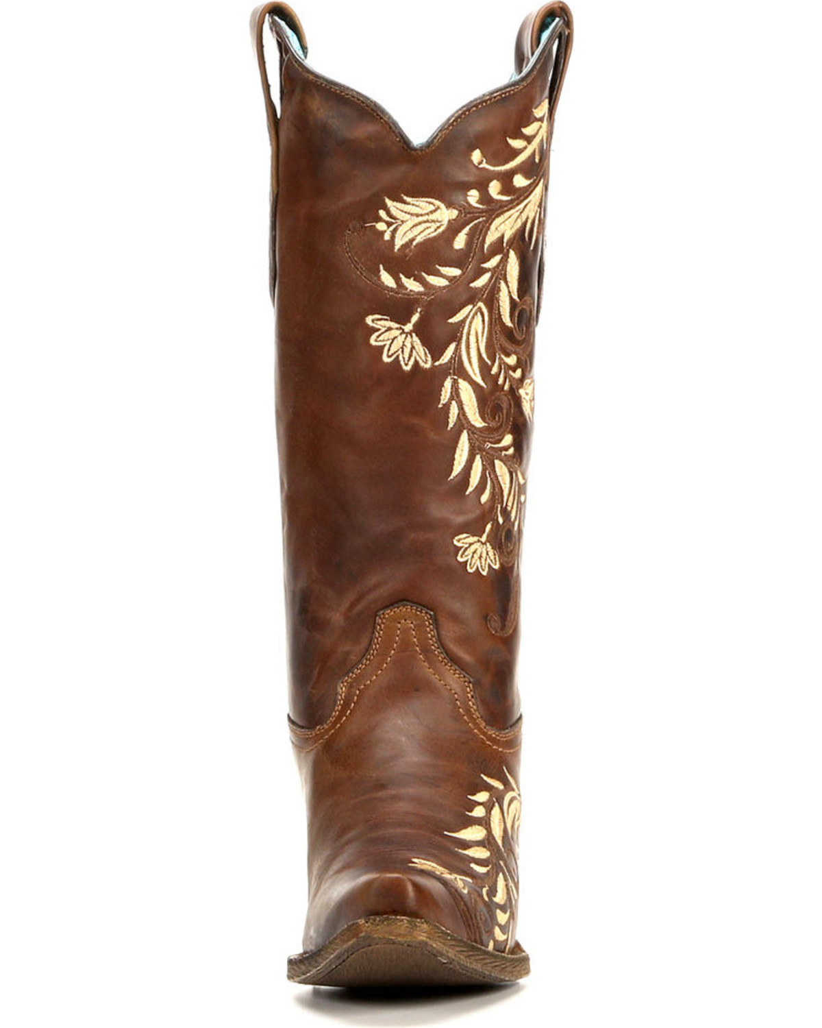 Corral Women's Floral Side Embroidery Cowgirl Boots - Snip Toe , Cognac,  hi-res