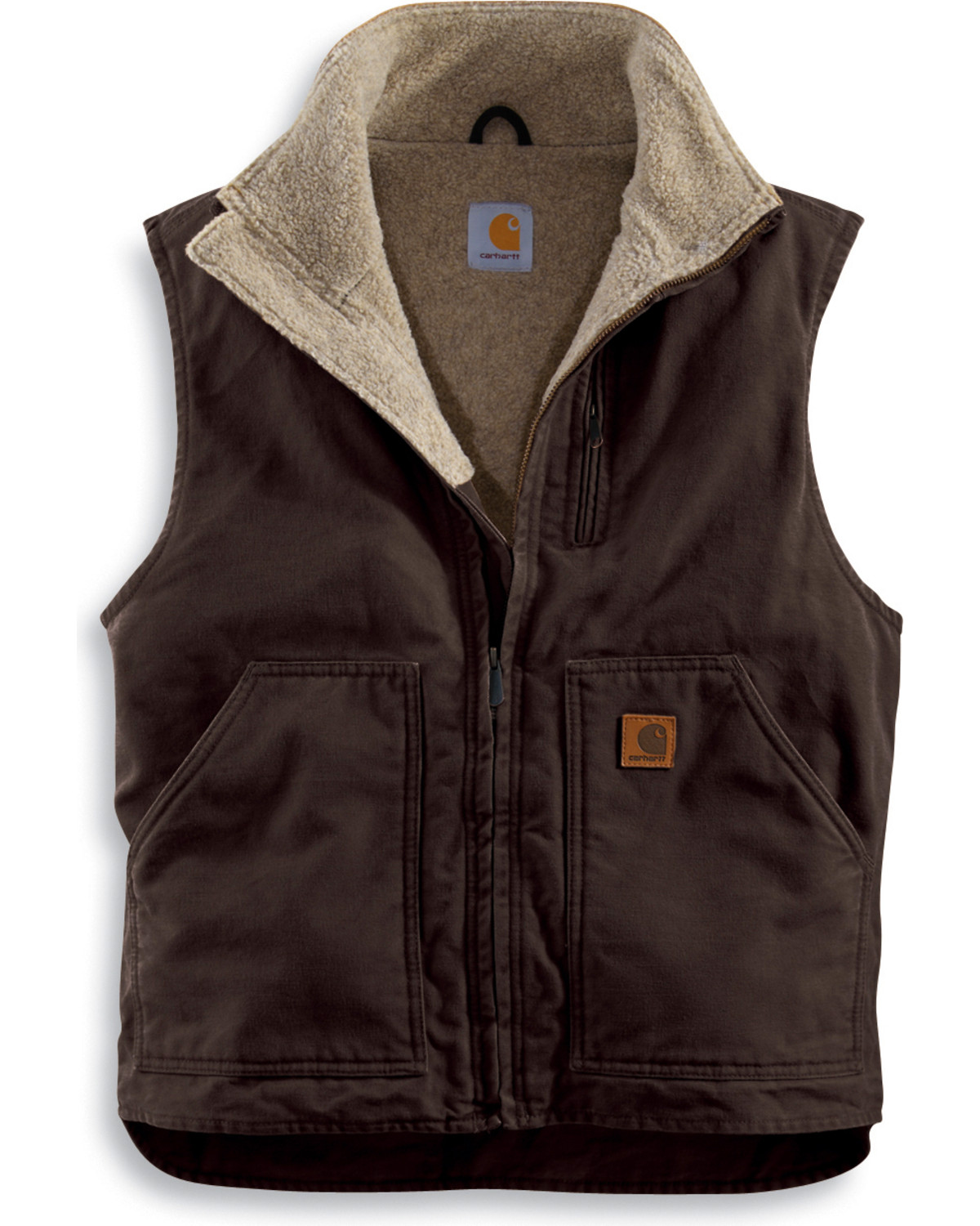 Carhartt Sherpa Lined Sandstone Duck Work Vest Country