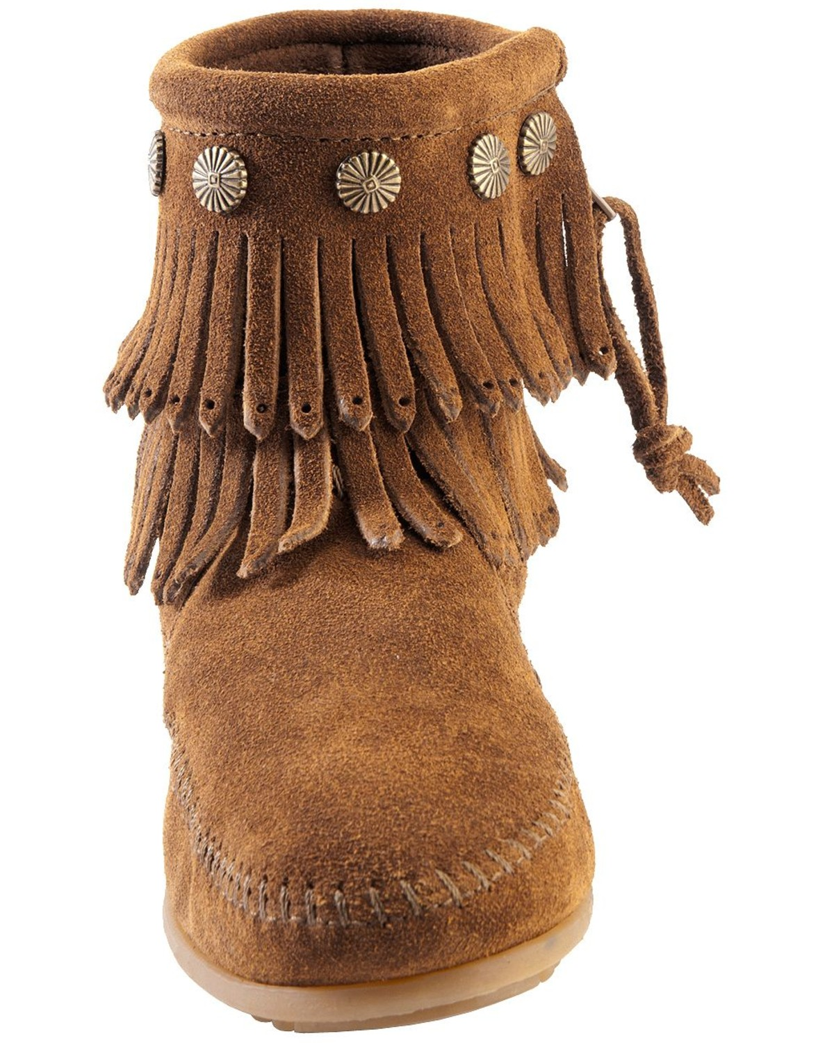 Minnetonka Double Fringe Side Zip Moccasin Country Outfitter