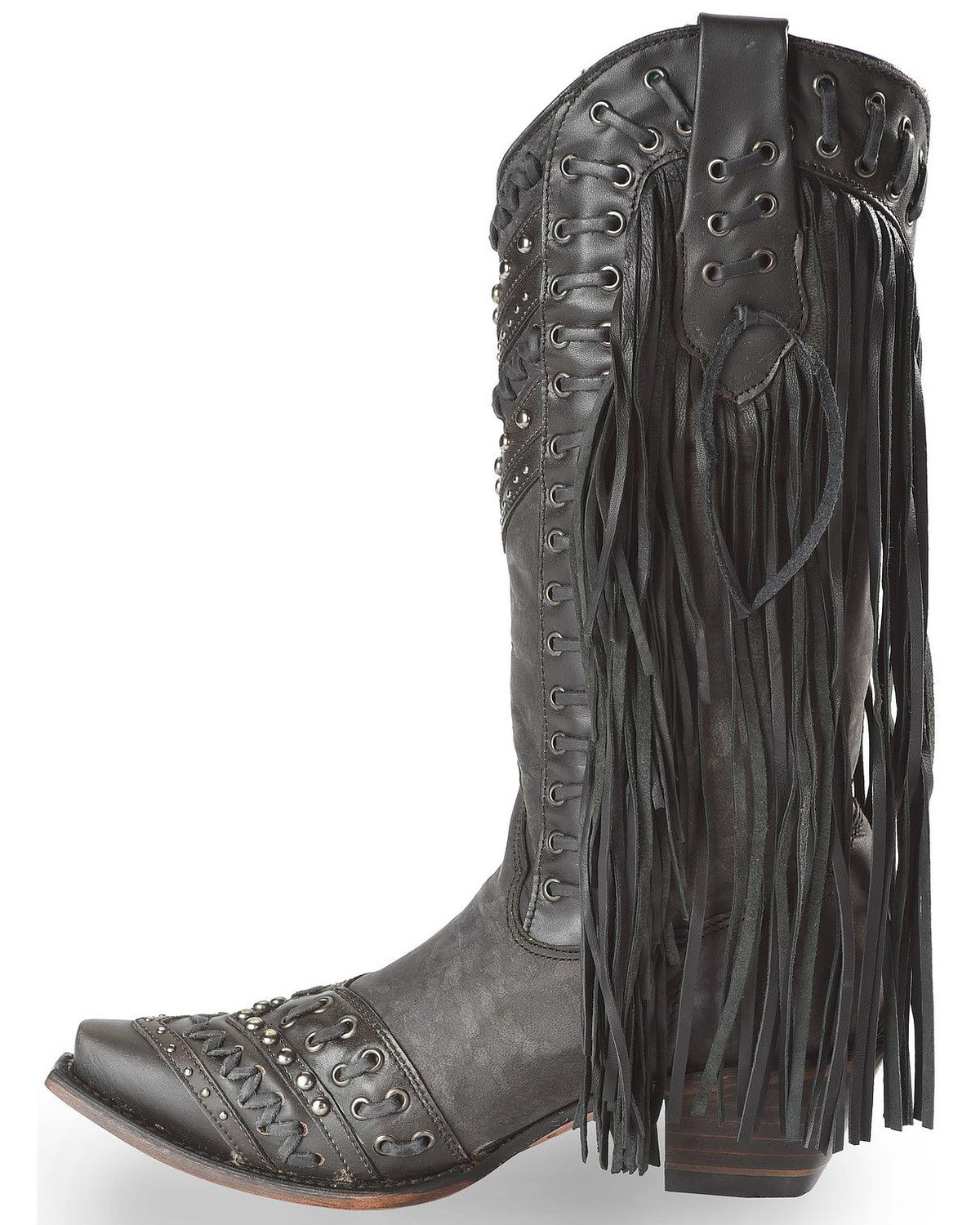 Corral Studded Side Fringe Cowgirl Boots - Snip Toe - Country ...