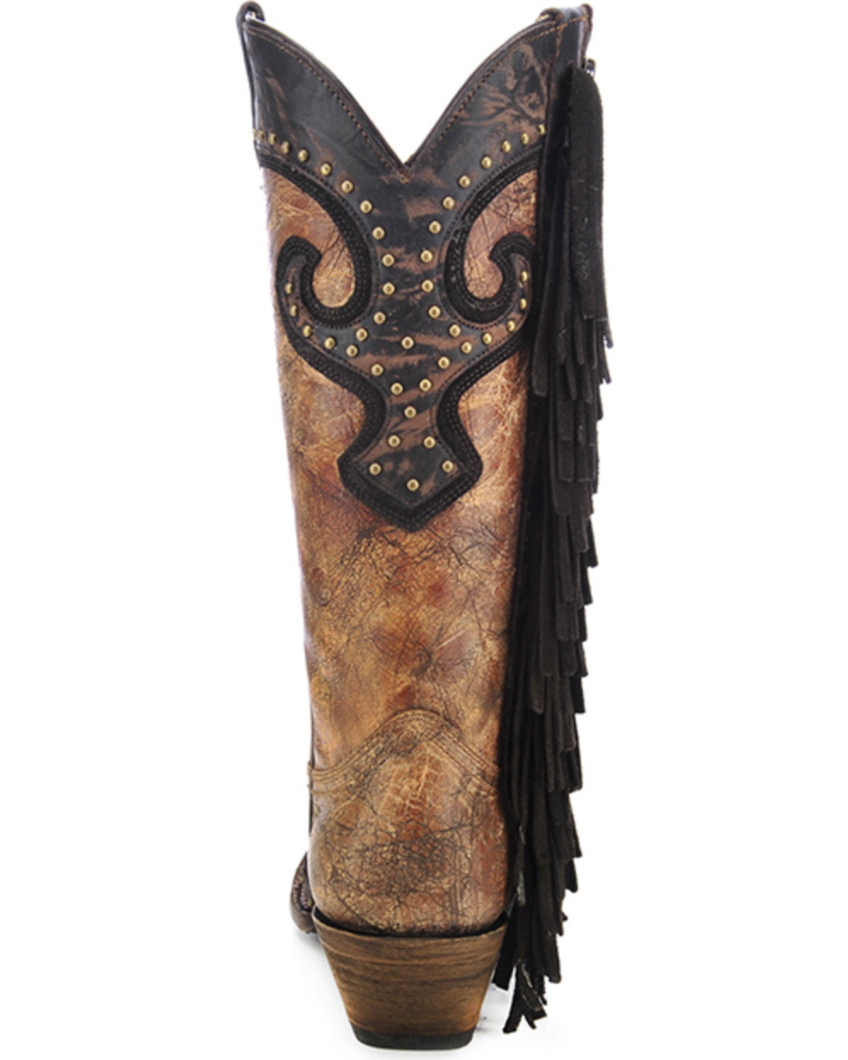 Corral Studded Fringe Cowgirl Boots - Snip Toe - Country Outfitter