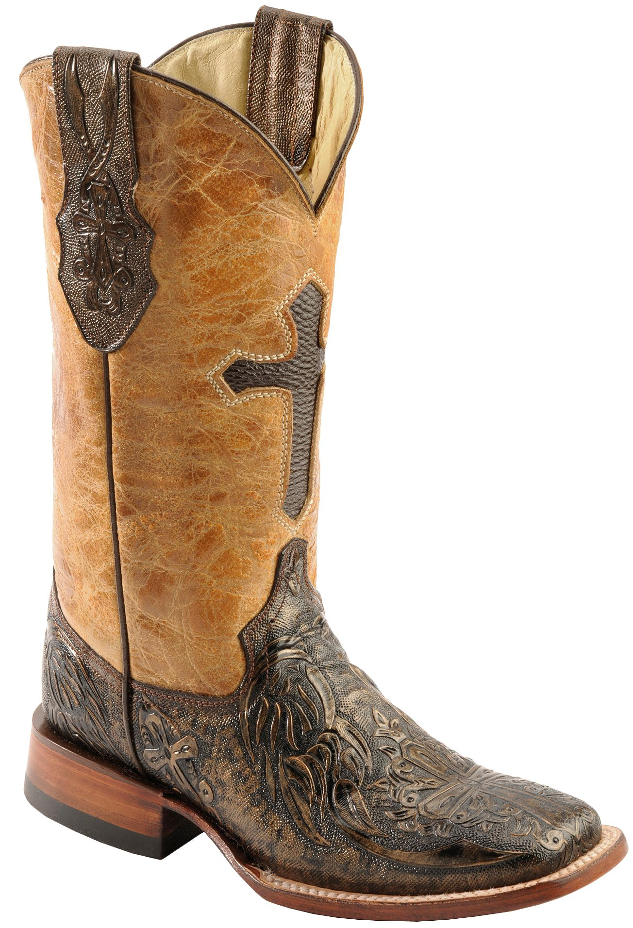 Ferrini Embossed Cross Inlay Cowgirl Boots - Wide Square Toe ...