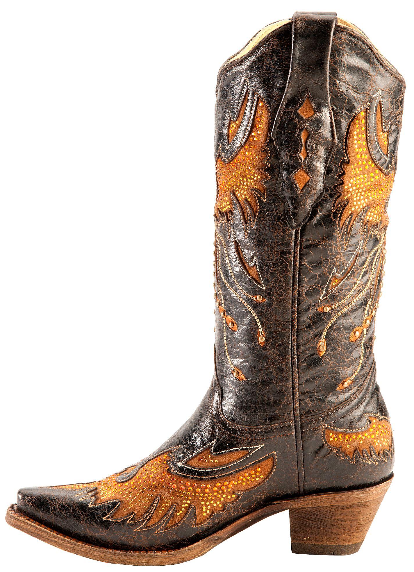 Corral Distressed Eagle Inlay Orange Rhinestone Cowgirl Boots ...
