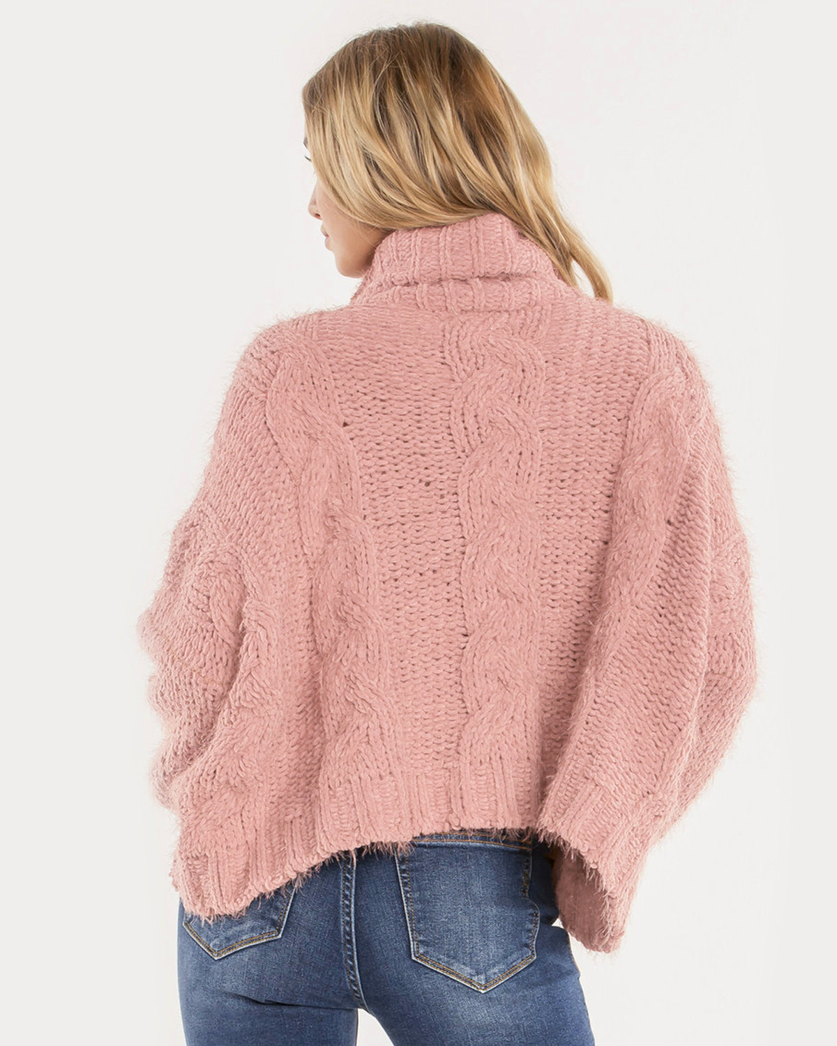 Miss Me Women's Light Pink Cropped Turtle Neck Sweater - Country ...