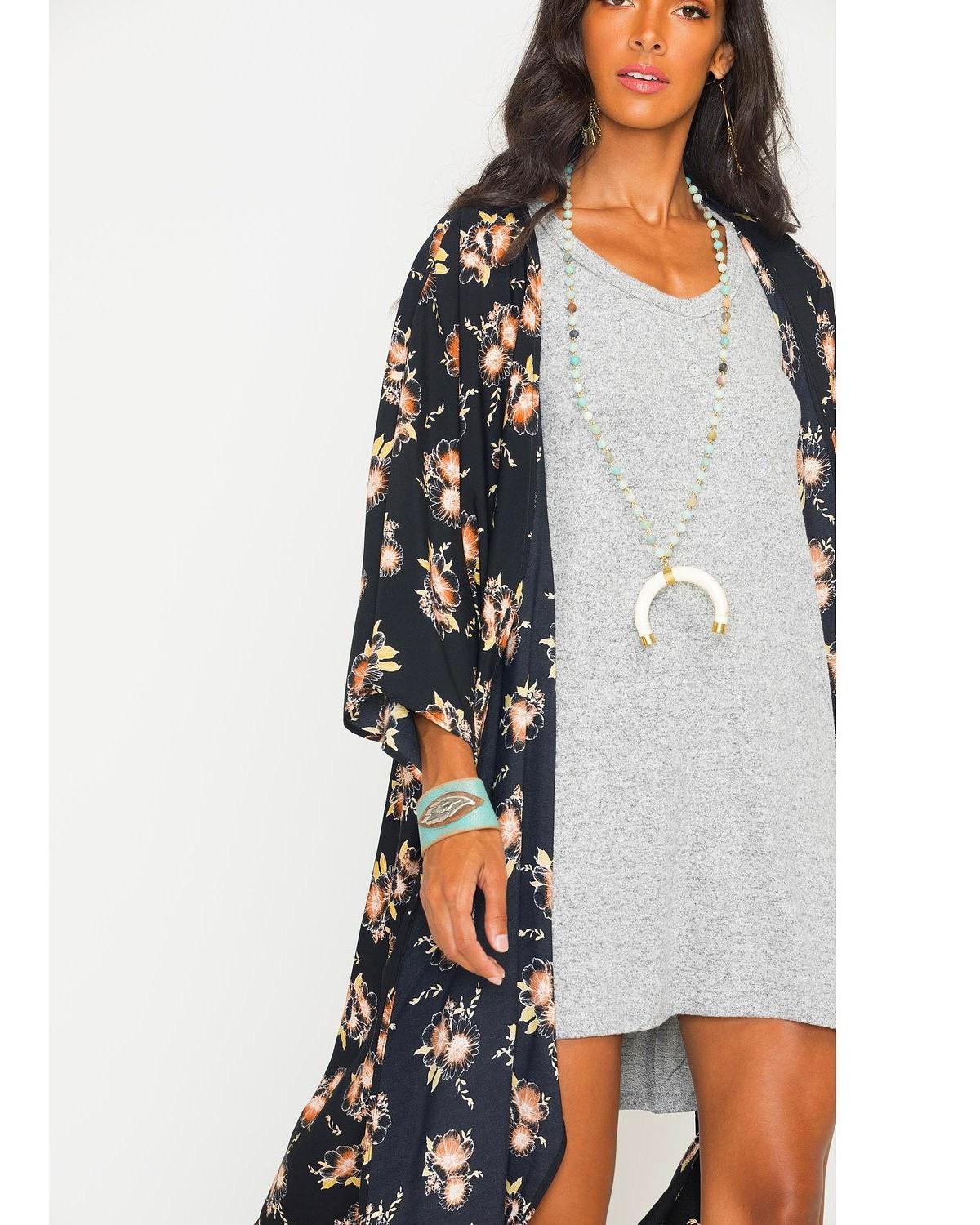 Ces Femme Women's Floral Long Kimono Cardigan - Country Outfitter