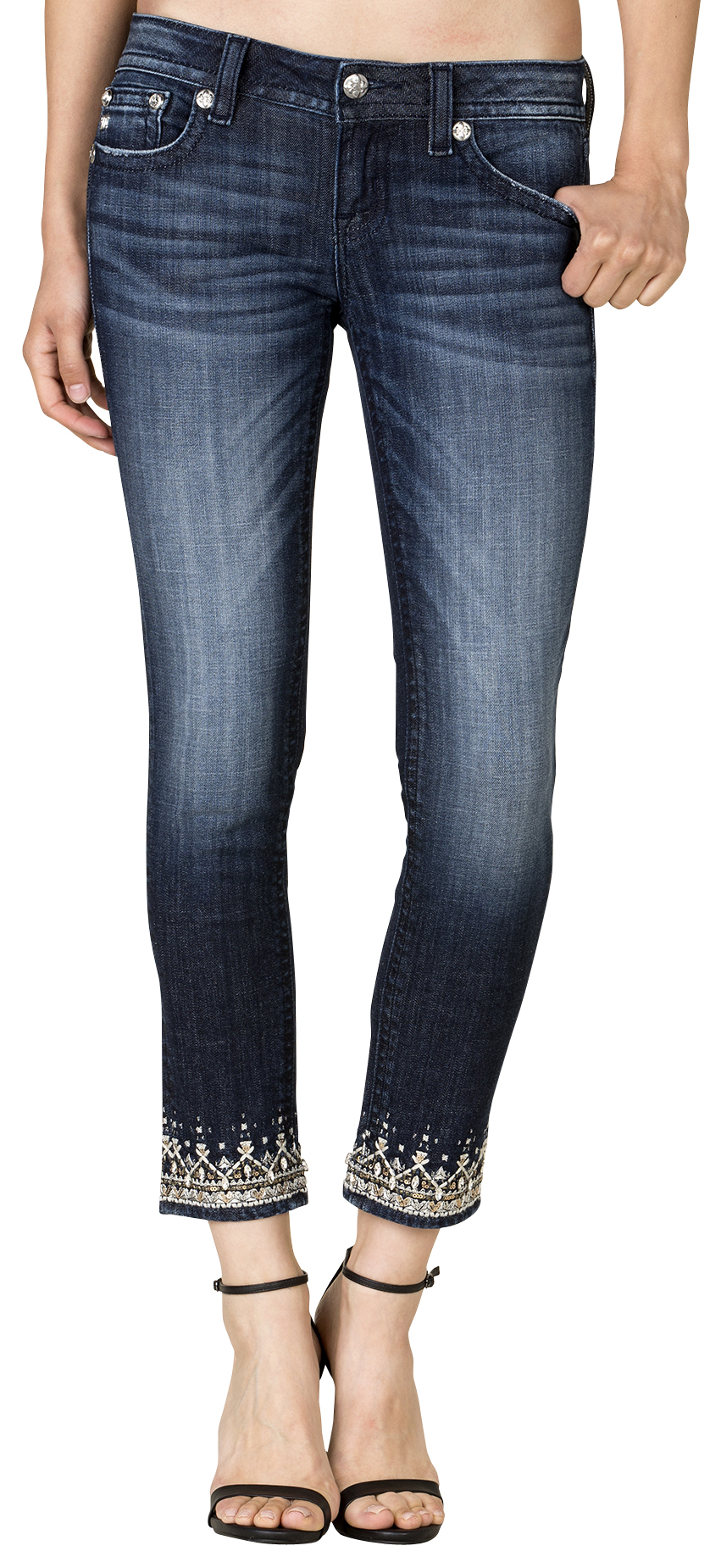 Miss Me Women's Dark Wash Embroidered Cuff Skinny Jeans - Country ...
