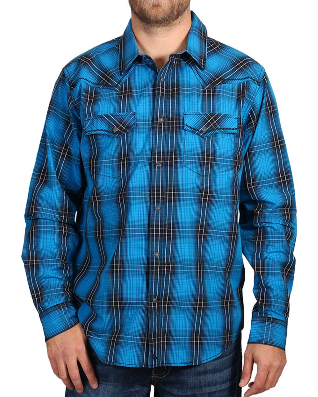 Cody james men 39 s blue and black plaid long sleeve shirt for Black and blue long sleeve shirt