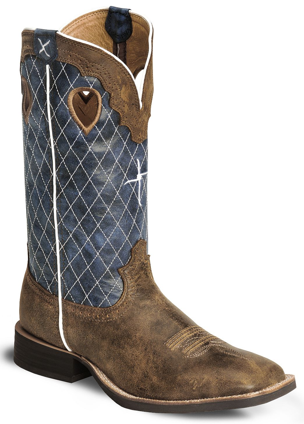 Twisted X Distressed Ruff Stock Cowboy Boots Wide Square