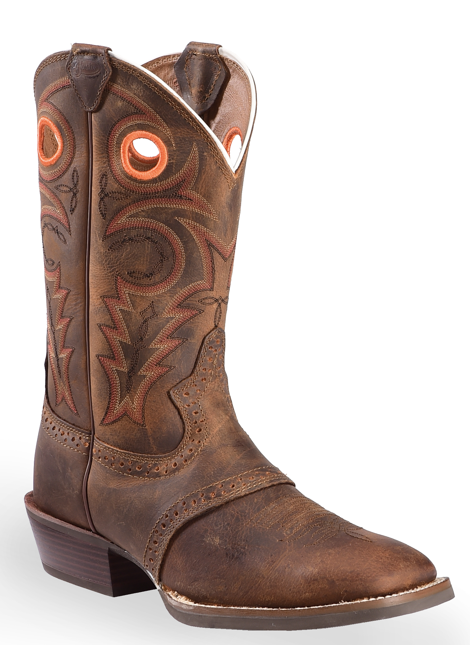 Justin leather work gloves - Justin Silver Saddle Vamp Cowboy Boots Square Toe Whiskey Hi Res