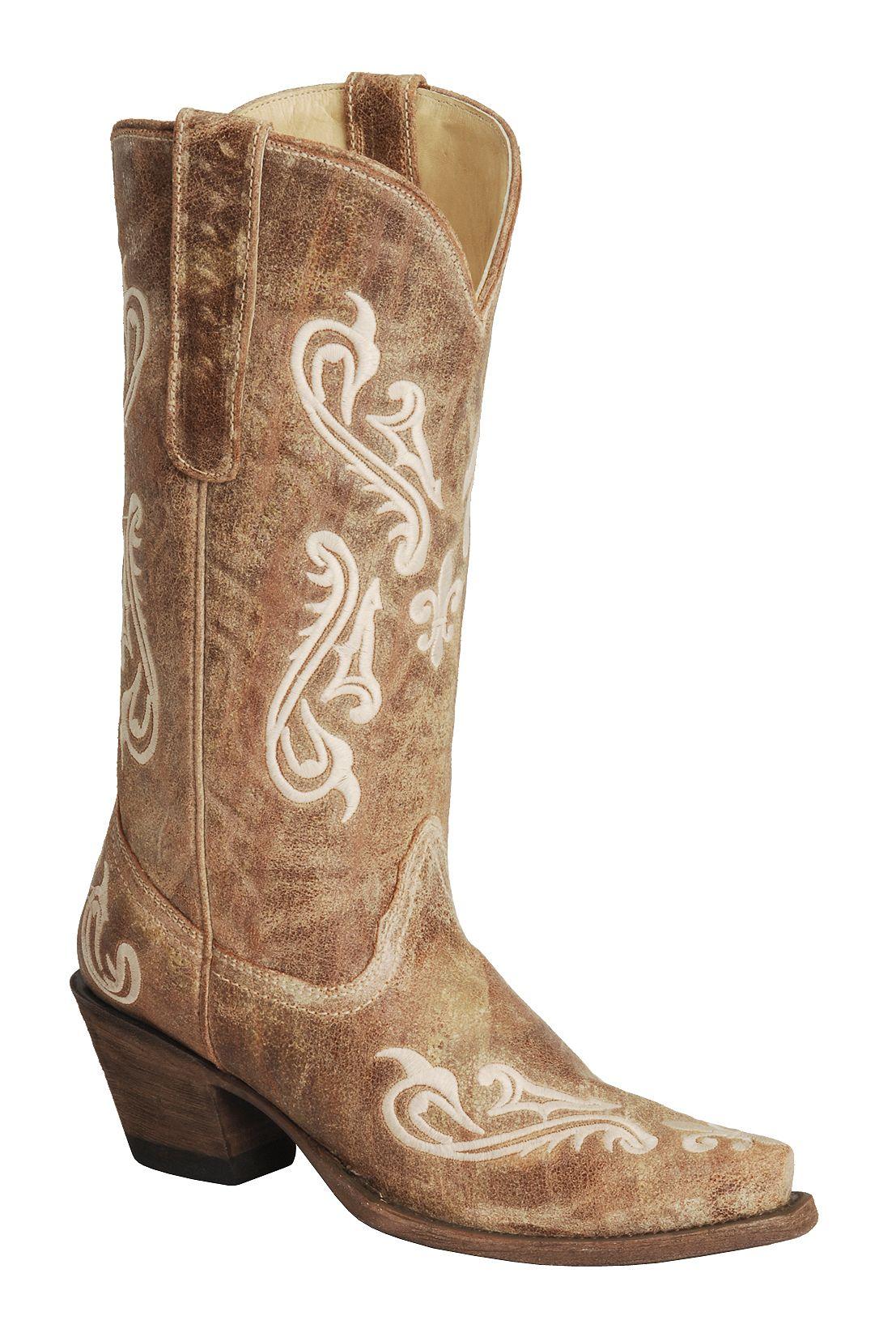 Corral Cortez Distressed Fleur De Lis Embroidered Cowgirl