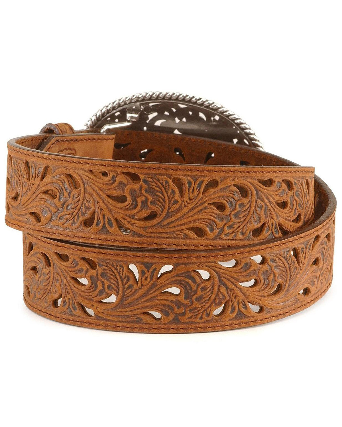 tony lama floral cutout leather belt country outfitter