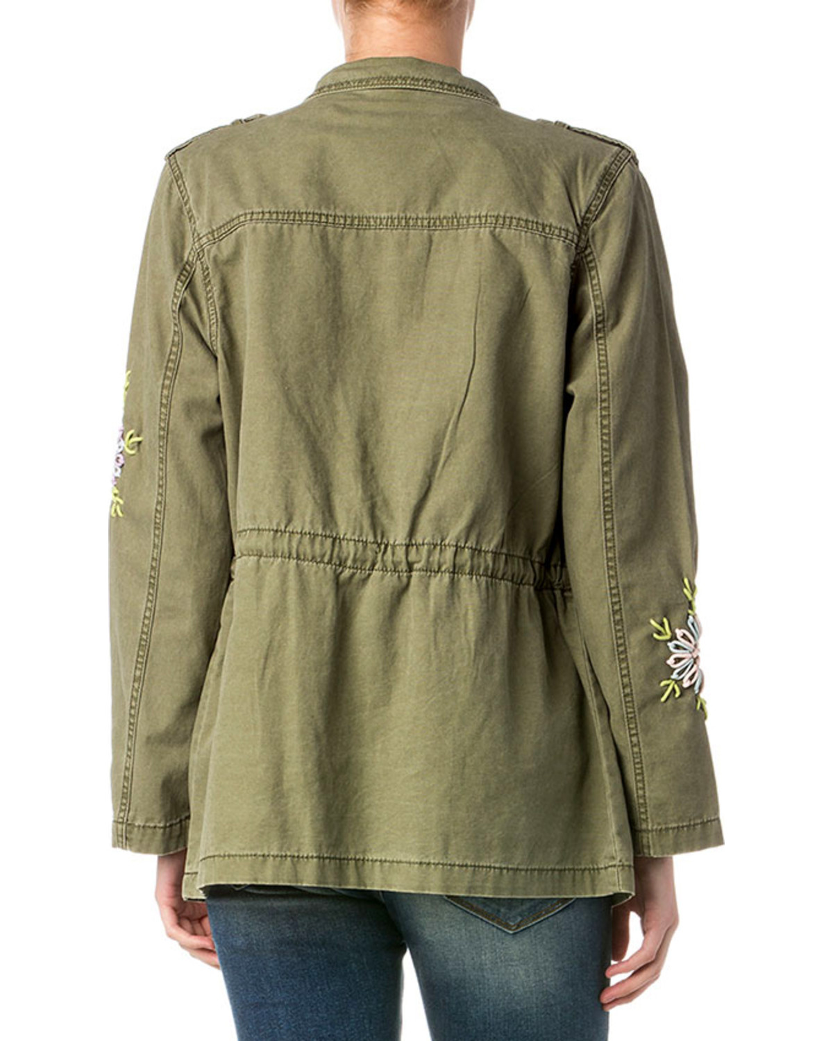 Miss me women s olive military embroidered jacket