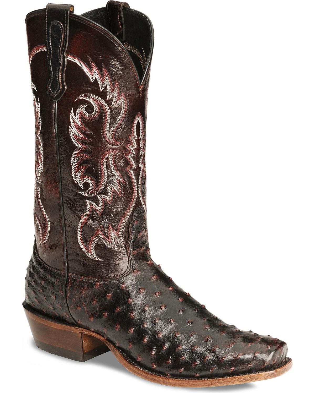 Nocona Men S Black Cherry Full Quill Ostrich Boots Sq